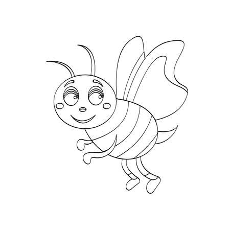 Illustration Of Wasp Cartoon For Kids Drawing Or An Outline For
