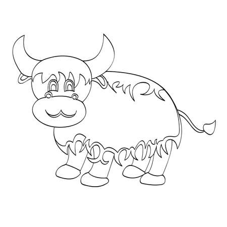 Yak Cartoon For Kids Drawing Vector Illustration Royalty Free