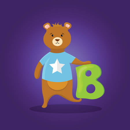 Cute illustration of kids alphabet of letter B for the bear cartoon animal. Banco de Imagens - 96658682