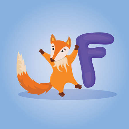 Cute illustration of alphabet of letter F for the cartoon fox animal.