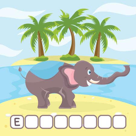Funny crossword game with cute cartoon of elephant on uninhabited island vector illustration. Cute preschool education worksheet.