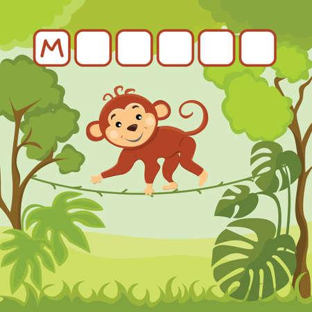 Funny crossword game with cute cartoon of small agile monkey swings on a creeper . Vector Illustration. Cute preschool education worksheet. Иллюстрация