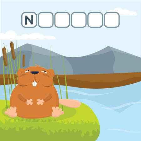 Funny crossword game with cute cartoon of nutria on the shore of the reservoir. Vector Illustration. Cute preschool education worksheet.