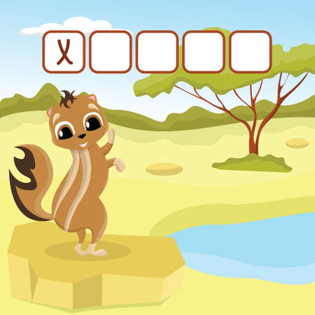 Funny crossword game with cute xerus on the background of an oasis in the desert. Vector Illustration. Cute preschool education worksheet.