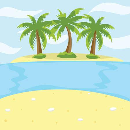 Small uninhabited island with palm trees vector illustration. Ilustração