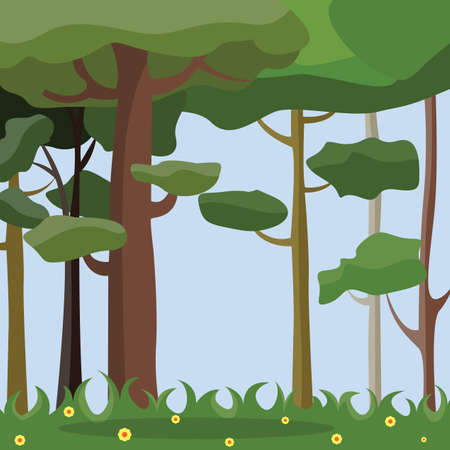 Flowering spring forest vector illustration.