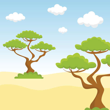 Couple of trees in the sandy desert vector illustration. 向量圖像
