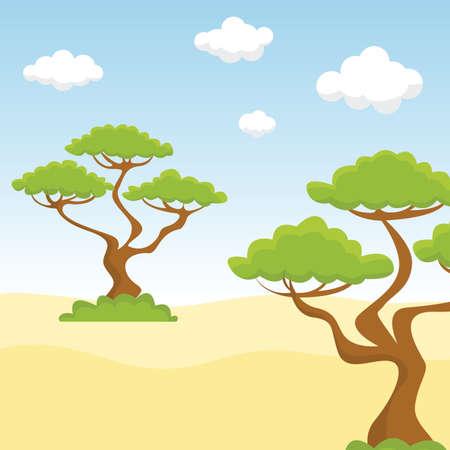 Couple of trees in the sandy desert vector illustration. Ilustração