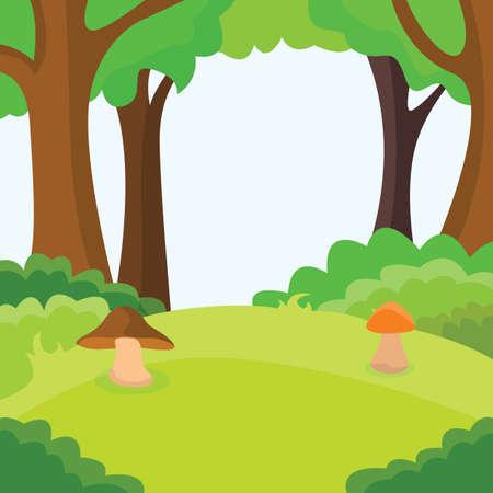 Mushroom field in racy forest vector illustration.