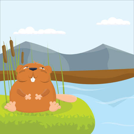 Charming full-bodied beaver in the river vector illustration.