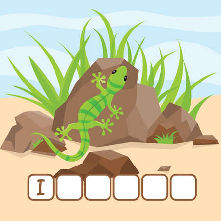 Funny crossword game with cute cartoon of bright green iguana is heated on a rock vector illustration. Cute preschool education worksheet. Illustration