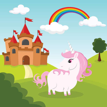 Pink unicorn castle in the background of castle, hills and a rainbow. Vector Illustration.