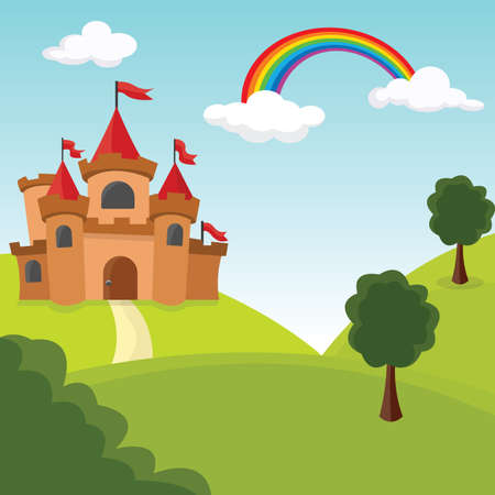 Romantic castle by the hills with trees. Vector Illustration.