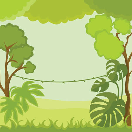 Liana and trees in the depths of the jungle. Vector Illustration.