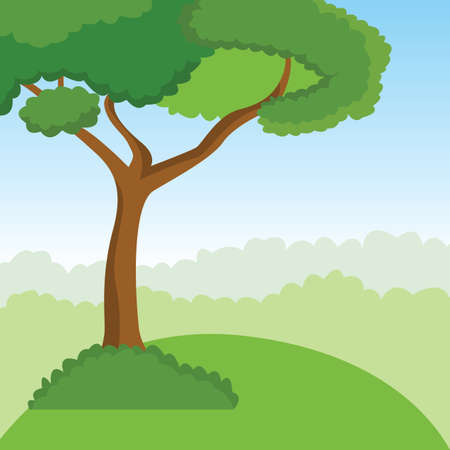 Tree growing on the edge of a picturesque cliff. Vector Illustration.