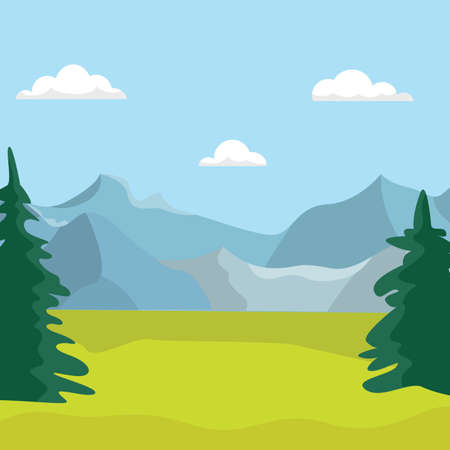 Landscape of trees at the foot of the mountains Vector Illustration.