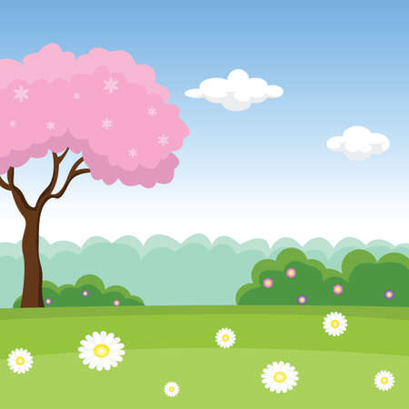 Pink tree on a blooming meadow on a forest background. Vector Illustration.