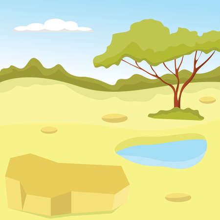 Terrain with rare vegetation amidst green horizon. Vector Illustration.