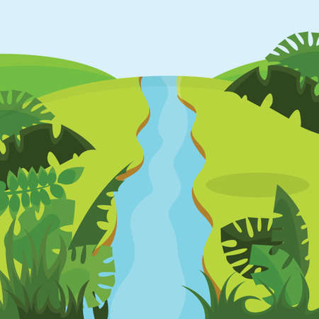 Picturesque flowering hills with a creek. Vector Illustration.