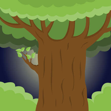 Large strong tree close-up. Vector Illustration.