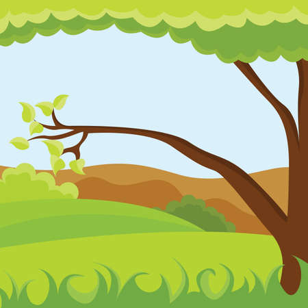 Tree in the meadows and fields Vector Illustration.