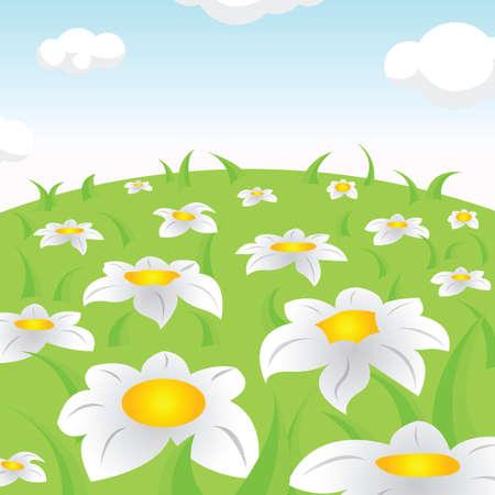 Fantastic blooming glades Vector Illustration.