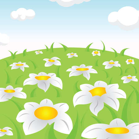 Fantastic blooming glades Vector Illustration.