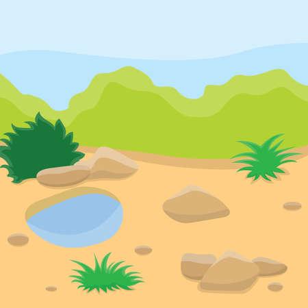 Sandy terrain with rare vegetation amidst green hills Vector Illustration. Illustration
