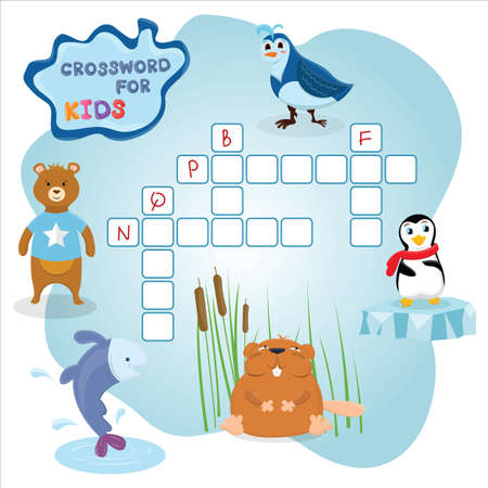 Funny crossword game with cute cartoon animals vector illustration