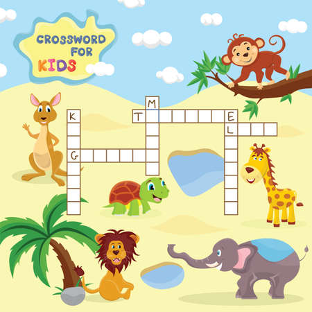 Funny crossword game with cute cartoon of group of animals vector illustration