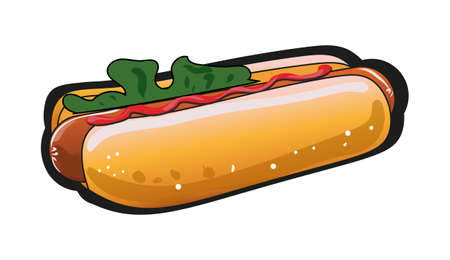 A Vector image of the hot dog with ketchup and salad.