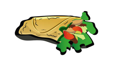A Vector image of the spicy shawarma Sandwich isolated on plain background.
