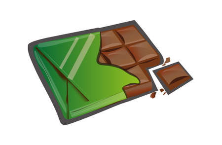 A Vector image of dark bitter chocolate isolated on plain background.