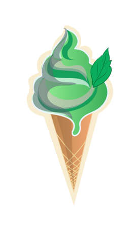 A Vector image of pistachio ice cream with mint isolated on plain background.  イラスト・ベクター素材
