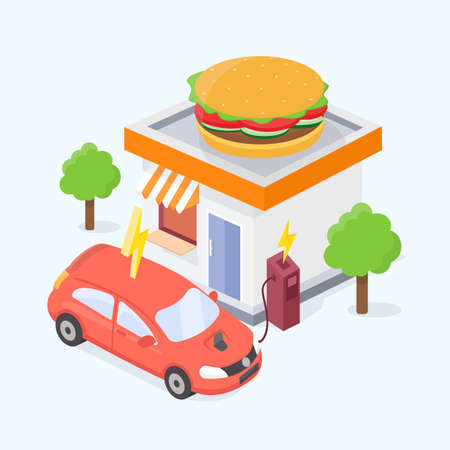 Vehicle charging on the small station near the burger shop. Electric car, flat vector infographic illustration. Illustration