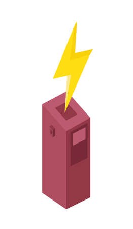 Car charging station vector icon. Flat design of power bank charger. Illustration