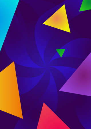 Blue background with triangle objects. Bright vector illustration.
