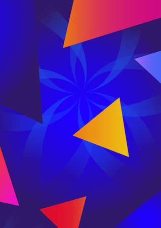 Blue space background with colorful geometry elements. Vector illustration.