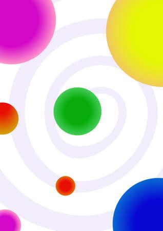 fond rose tourbillon avec des planètes colorés. illustration vectorielle
