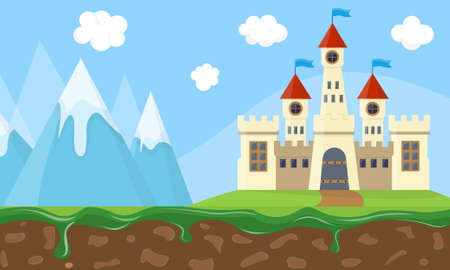 Exciting fairy landscape with beauty castle, mountains and sky  Vector Illustration.