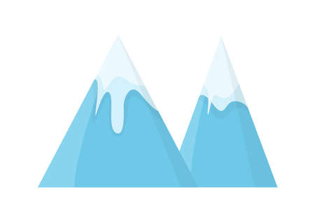 Blue vector snow-capped mountains. Game asset isolated on plain background.
