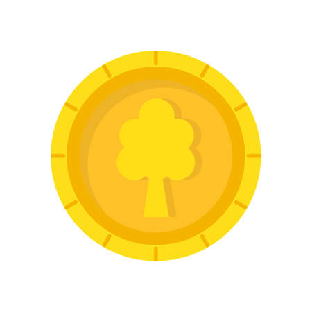 Big gold vector coin with a tree on the head.