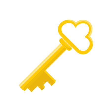 Golden cartoon isolated key for an ancient padlock Vector Illustration.