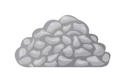 Cartoon vector pile of grey boulders and rocks. Game asset isolated on plain background.