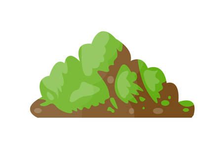 Funny isolated vector cartoon hill with grass. Illustration
