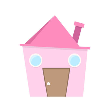 Isolated funny slanting pink house with chimney, door and windows Vector Illustration.