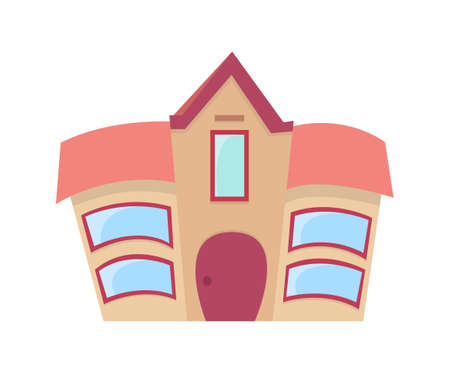 Cartoon curved symmetry house Vector Illustration.