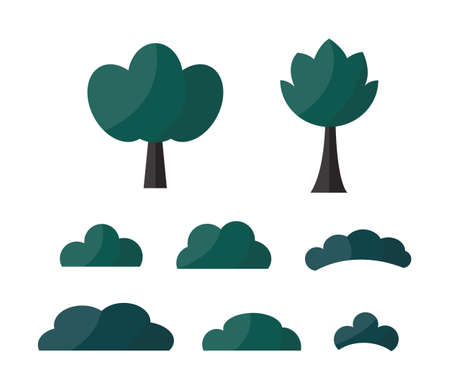 A Vector set of dark cartoon different cute bushes and tree. Game assets isolated on plain background.