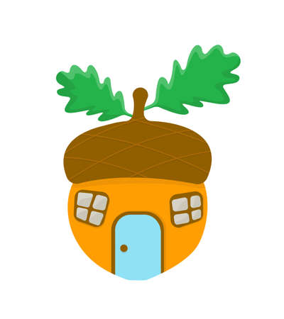 Isolated vector acorn with leafs stylized house. Illustration