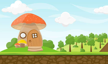 Green forest landscape with threes and mushroom house and cloudy sky Vector Illustration.